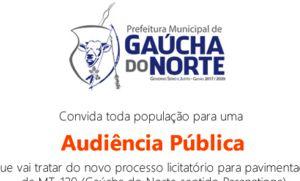 Município de Gaúcha do Norte recebe audiência pública para asfaltar MT-129 (Crédito: Reprodução)