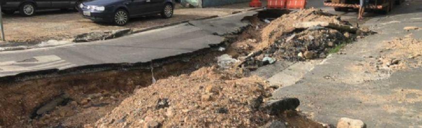 Defesa Civil avalia interdição na Senador Metelo e analisa situação de emergência em Cuiabá (Crédito: Reprodução)