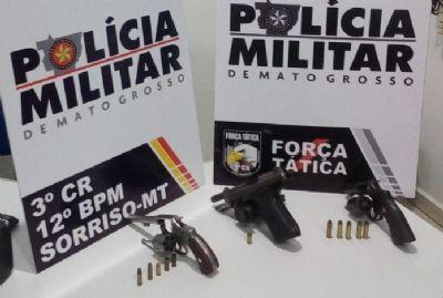 PM evita assalto e armas e munições são apreendidas em Sorriso