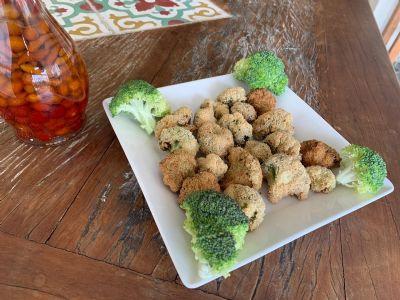 Brócolis empanado com aveia