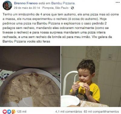 Criança autista 'vibra' ao receber pizza sem recheio e comove a web: 'Gratidão'