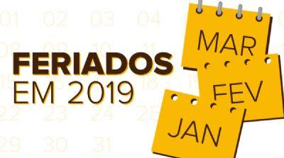 Veja a lista de feriados e pontos facultativos em 2019
